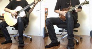 アコースティックギターとマンドリンと足台